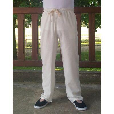 pantalon chinois lin blanc. Black Bedroom Furniture Sets. Home Design Ideas
