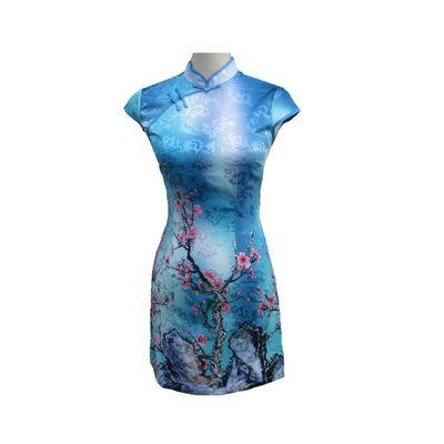 Robe Chinoise  Coton Bleu Courte