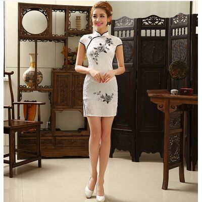 Robe Chinoise Courte Coton Blanche