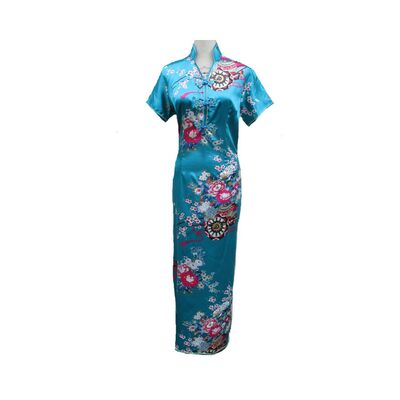 Robe Chinoise Longue Turqoise