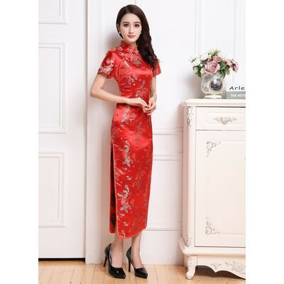 Robe Chinoise Traditionnelle Longue Rouge Motifs Dargon