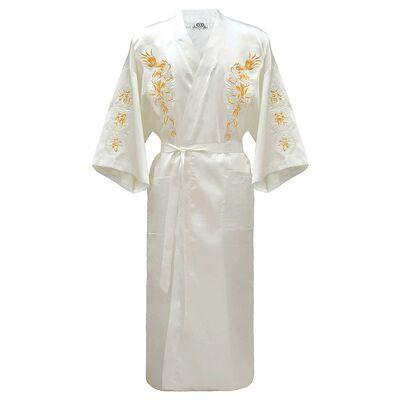 Kimono Chinois Blanc Dragon