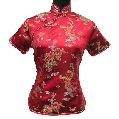 Chemiser Chinoise Soir Rouge Bordeaux Dragon Traditionelle