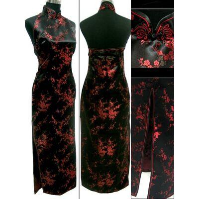 Robe Chinoise Longue Manche Court Noir Motif Fleur Paris