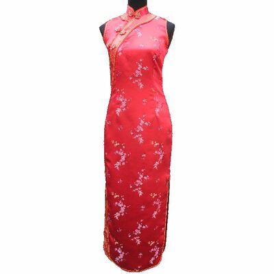 Robe Chinoise Longue Rouge Motif Bonheur
