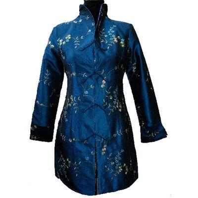 Veste Tunique Pour Femme Bleu Motif En Soie
