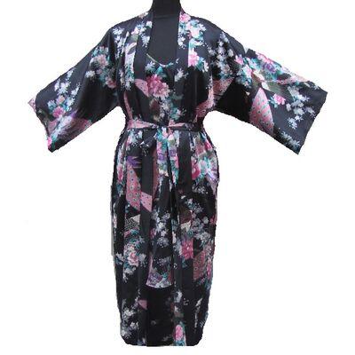 Kimono Longue Noir Avec Nuisette
