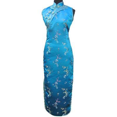 Robe Chinoise Bleu Dos Nue Fendue