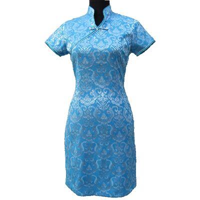 Robe Chinoise Bleu Hotesse Paris
