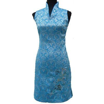 Robe Chinoise Coton Bleu Sans Manche