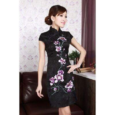 Robe Chinoise Courte Coton Noire Fleur Bordee Motif