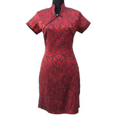 Robe Chinoise Femme Rouge Bordeaux