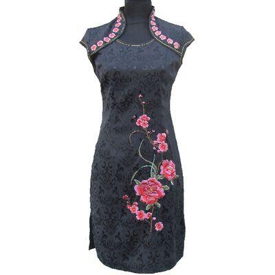 Robe Chinoise Noir Motif Fleur Bonheur