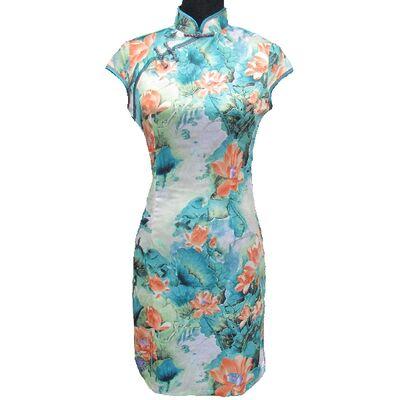Robe Chinoise Verte Motif Bonheur