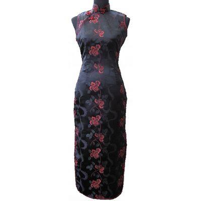 Robe Chinoise en Soie Sans Manche Noire Fleur