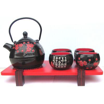 Theiere Chinois Noir Motif Fleur