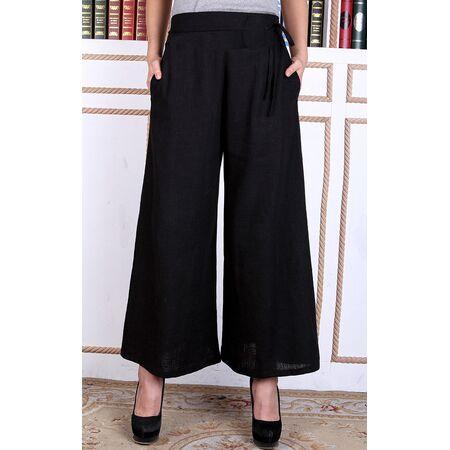 Pantalon Chinois Lin Noir Pour Femme