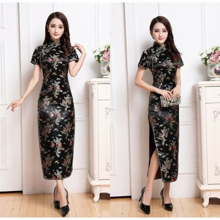 Robe Chinoise Longue Traditionnelle Dragon Noir