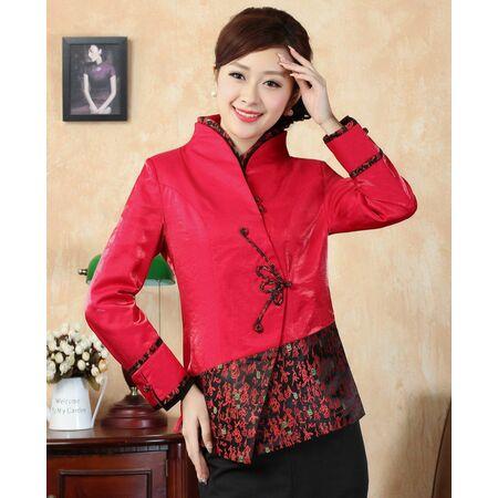 Veste Chinoise Femme Rouge Motif Bonheur