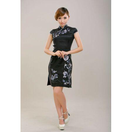 Robe Chinoise Femme Noir Coton