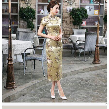 Robe Chinoise Longue Dore