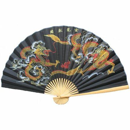 Eventail Noir Dragon Chinoise