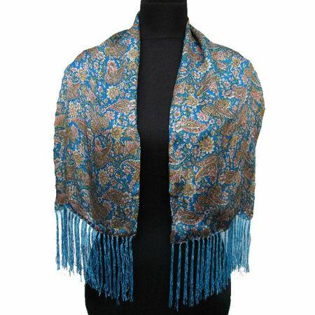 Foulard en Soie Bleu Motif Bleu Manifique