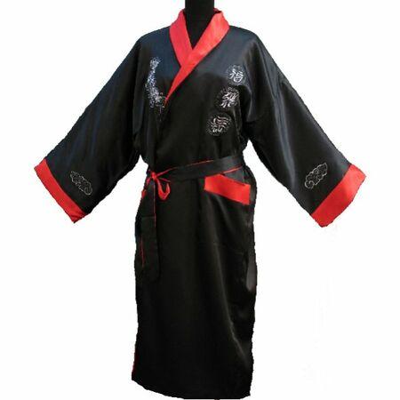 Kimono Chinois Reversible Double Faces Dragon Motif