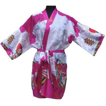Kimono Court Fushia Motif Femme Japonais