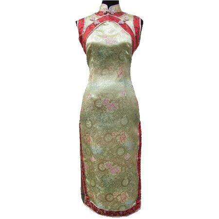 Robe Chinoise Longue Dore Sans Manche
