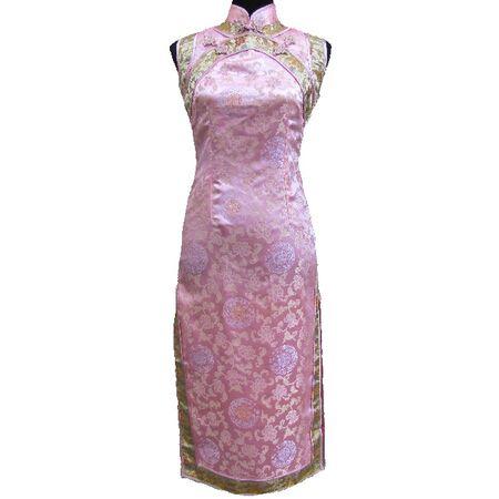 Robe Chinoise Longue Rose